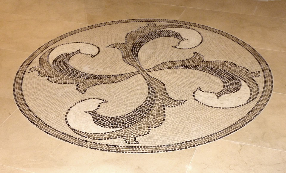 Front entrance circular marble inlay