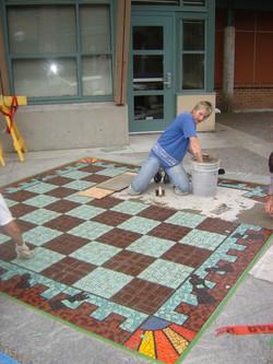 installing exterior chessboard