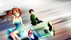若曦與阿福在電車頂.jpg