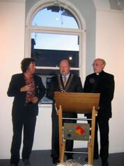 Linenhall Arts Centre, Castlebar, County Mayo with Fr Tom Davitt and Mayor of Castlebar Brendan Heneghan