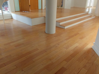 """Repair/Installation of 5"""" engineered red oak. Sand and finish 4,000 square feet of flooring to"""