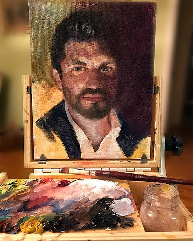 Self-portrait Renaissance style. Oil on linen