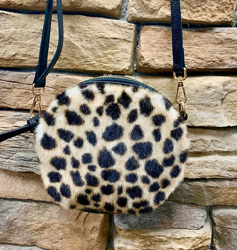 Leopard faux fur round cross body bag with gold accents