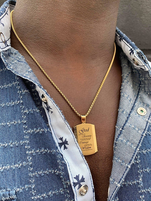 Men's Gold Tone Stainless Steel Serenity Prayer Necklace