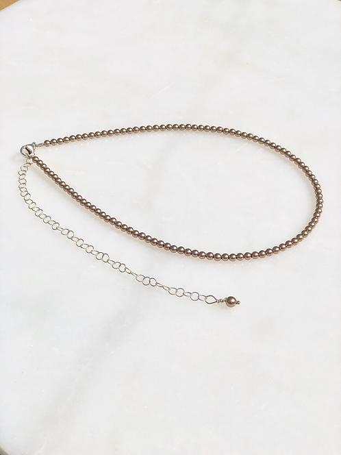 "13-18"" Bronze Pearl Necklace/Choker"