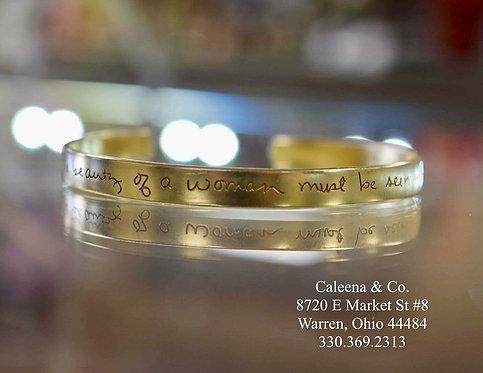 14k Yellow Gold Cuff Bracelet with Handwriting