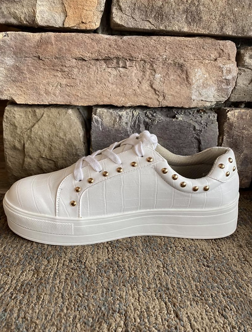 Rossi White Sneaker with Gold Detail
