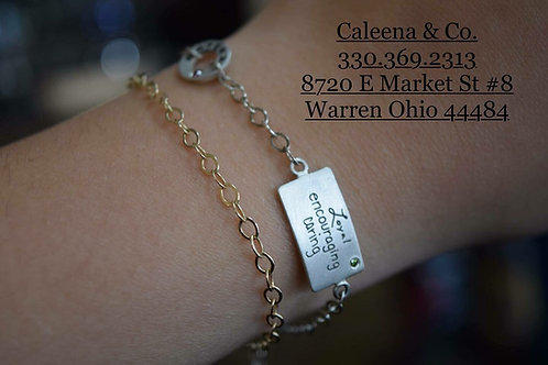 14K Yellow Gold Link Bracelet and Sterling Silver Link Bracelet with Charms