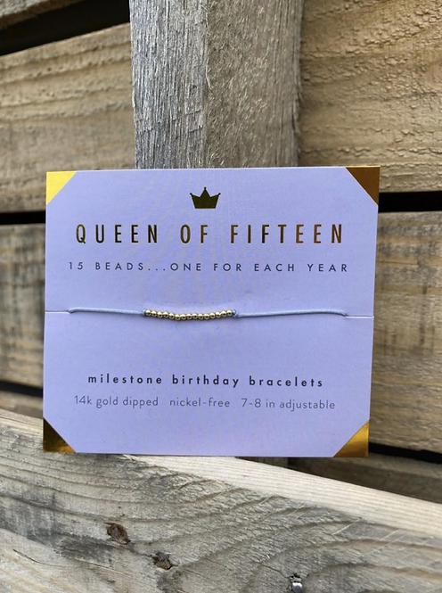 Queen of Fifteen 14k Gold Dipped Milestone Birthday Bracelet