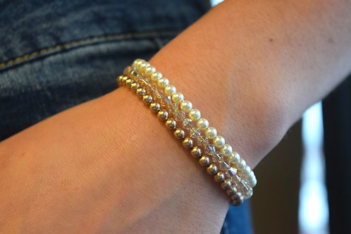 Abbey's Stack- Cream Pearl, Light Silk & Bronze Pearl