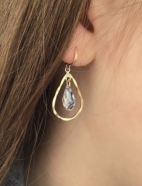 Adah Gold Filled Pear Shape Elliptical Blue Shade Crystal Dangle Earring