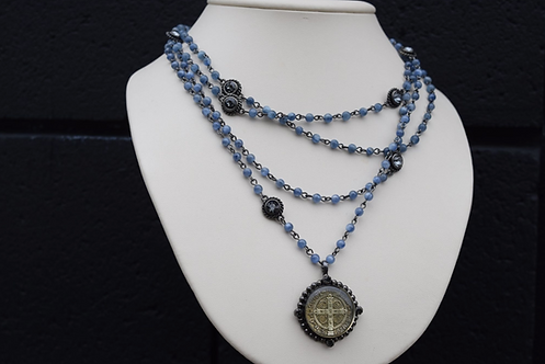 VSA San Benito Lux 4mm Magdalena in Gunmetal w/Kyanite and Silver Night Crystals