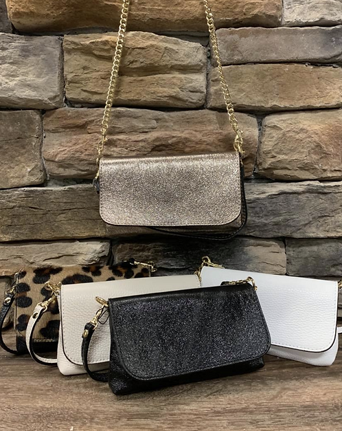 Leather flap closure small clutch with gold accents