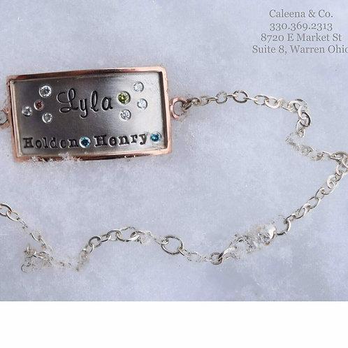 Sterling Silver Link Bracelet with a 14k Rose Gold Trimmed Rectangular Charm