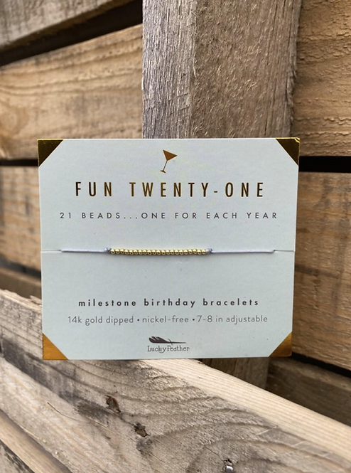 Fun Twenty-One 14K Gold Dipped Milestone Birthday Bracelet