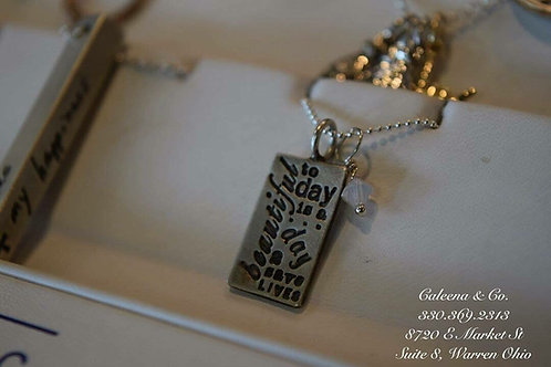 Sterling Silver Rectangle Charm with Stamped Writing