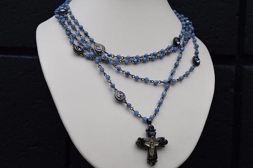 VSA Gunmetal Cross Lux Magdalena w/ Kyanite and Silver Night Crystals