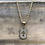 """Thumbnail: 10K Yellow Gold with White Gold Face 3/4"""" Crystal Dog Tag with Cross"""