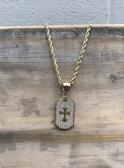 """10K Yellow Gold with White Gold Face 3/4"""" Crystal Dog Tag with Cross"""