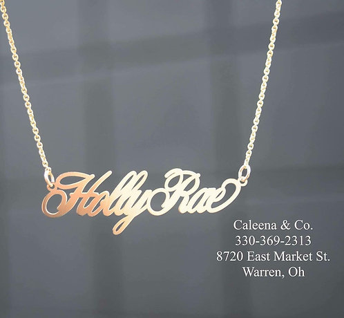 14k Yellow Gold Name Plate
