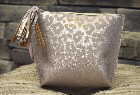 Rose Gold Leopard Medium Make Up Bag