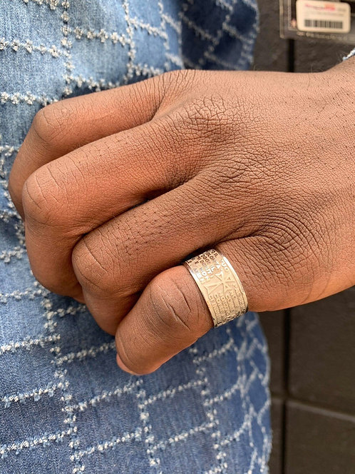 """Men's Sterling Silver Italian """"Our Father"""" Prayer Ring Sz 10"""