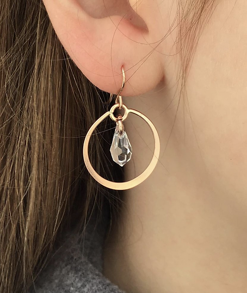Lydia Rose Gold with Clear Crystal Dangle Earrings