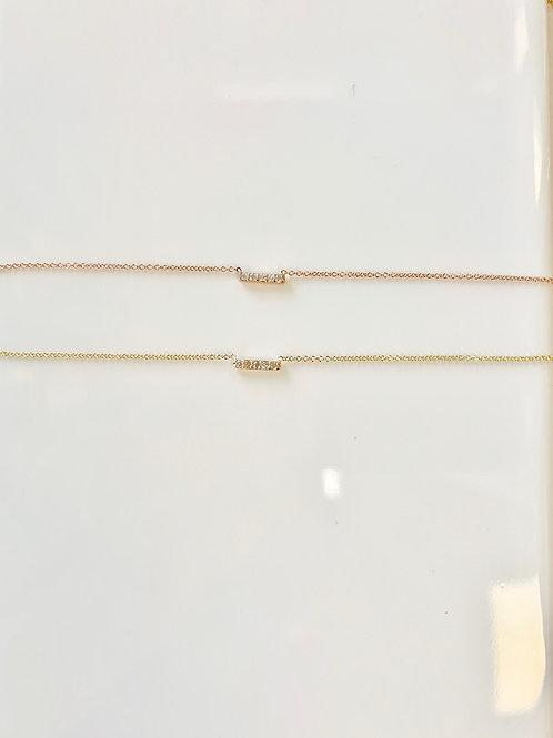 .04 Ct Diamond Bar Necklace