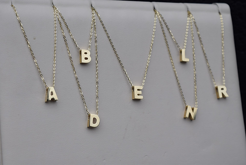 """16-18"""" 14K Yellow Gold Upper Case Initial Necklaces"""