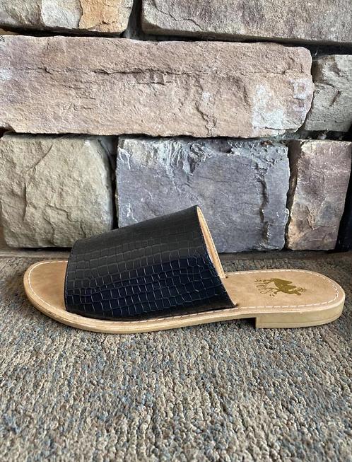 Sahara Black Croc Skin Slide Sandals