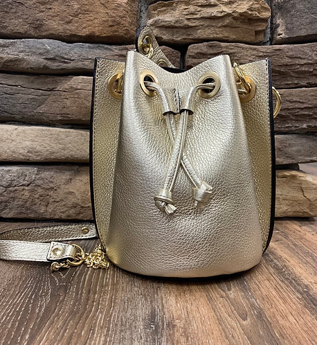 Gold/Champagne Leather Bucket Purse with Gold hardware