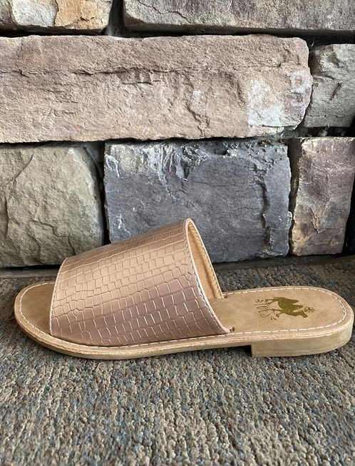 Sahara Rose Gold Croc Skin Slide Sandals