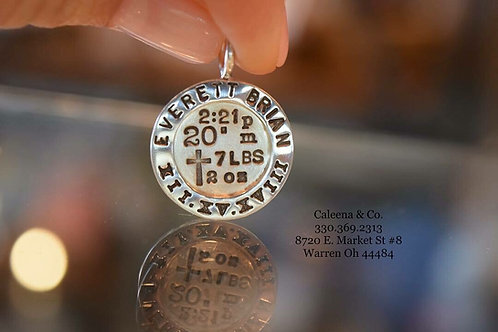 Sterling Silver Custom Disk Charm with Stamped Writing