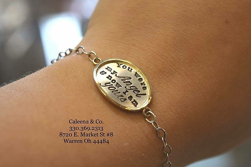 Sterling Silver Link Bracelet w/ 14k Yellow Gold Trimmed Disk w/ Stamped Writing
