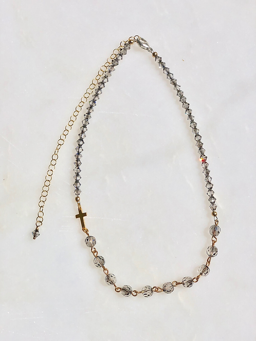 """13-18"""" Satin Crystal with Gold Rosary Necklace"""