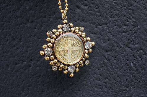 """VSA 32"""" Gold Tone Ball Chain w/ San Benito Cloister Necklace"""