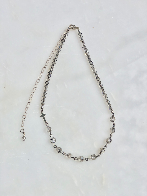 """13-18"""" Satin Crystal with Silver Rosary Necklace"""