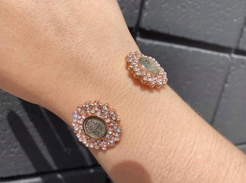 Luna Rose Gold Tone Cuff w Clear Crystals