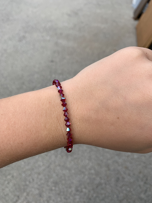 Garnet (January Birthstone) Swarovski Crystal Bracelet