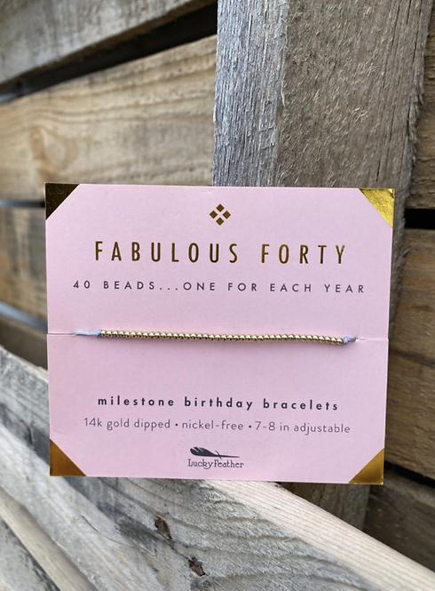 Fabulous Forty 14k Gold Dipped Milestone Birthday Bracelet