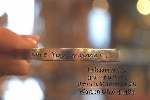 Sterling Silver Cuff Bracelet with Handwriting