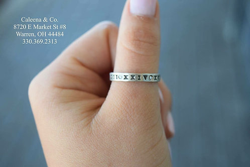 Sterling Silver Stacker Ring with Roman Numerals & Diamonds