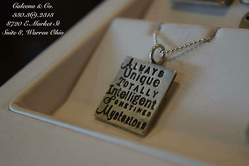 Sterling Silver Square Charm with Stamped Writing