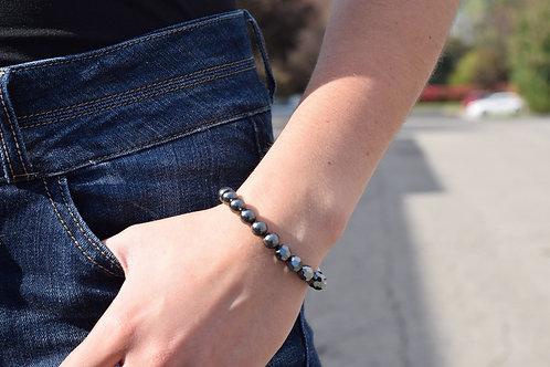 Split Hematite Crystal & Black Pearl Large Swarovski Crystal Bracelet