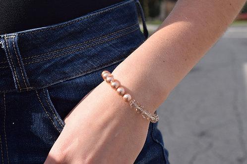 Split Light Silk & Rose Gold Large Crystal Swarovski Bracelet