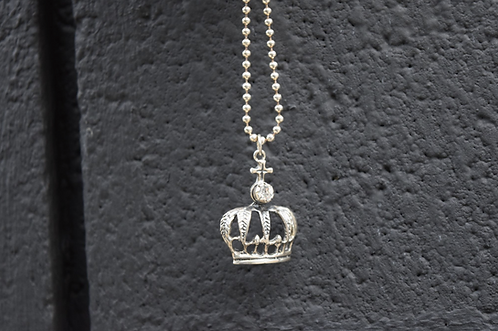 """VSA Sterling Silver 34"""" Silver Plated Ball Chain w/ Archangel Holy Crown Necklac"""
