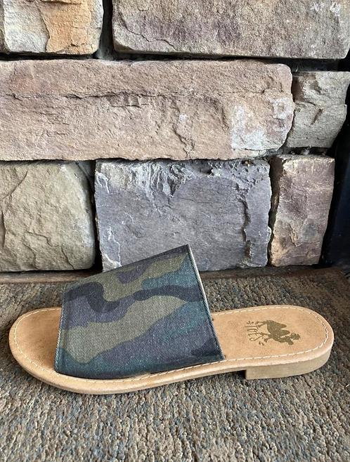 Sahara Camo Print Slide Sandals