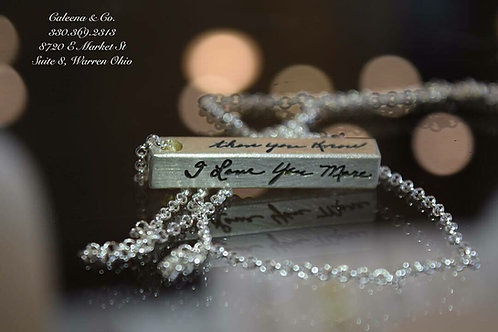 4 Sided Sterling Silver Bar Charm with Handwriting