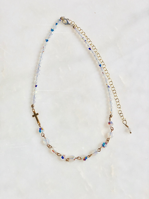 """13-18"""" White Opal with Gold Rosary Necklace/Choker"""