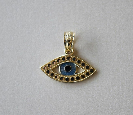 14k Enamel Evil Eye Pendant